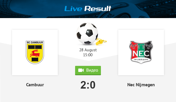 Live Standings During The Match Cambuur Nec Nijmegen 28 August 2020
